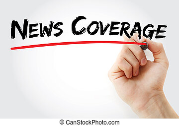 Hand writing News coverage with marker
