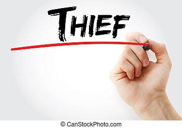 marcador, mão, ladrão, escrita