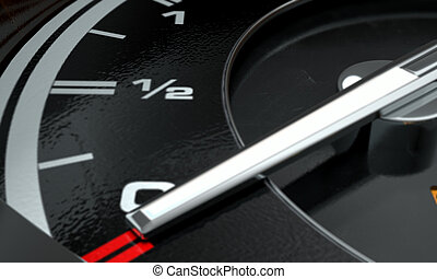 Petrol Gage Empty - A 3D render of an extreme closeup of a...