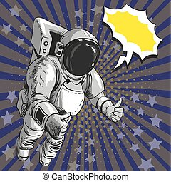 Vector illustration of astronaut in outer space, pop art style