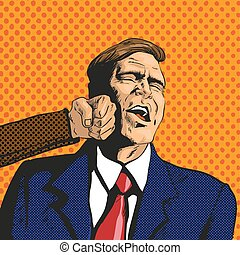 Vector illustration of man facing difficulties, in pop art style