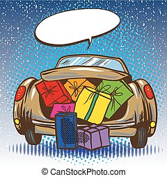 Vector illustration of car trunk with gifts, pop art style
