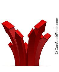 red arrows - 3d rendered illustration of rising arrows