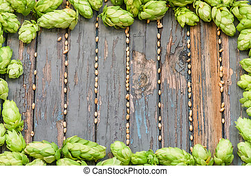 frame is of hops and malt wooden colored texture, ,...