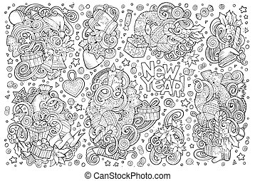 Doodle cartoon set of New Year and Christmas objects - Line...