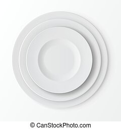 Tableware Set of Plates Top View. Table Setting - Vector...