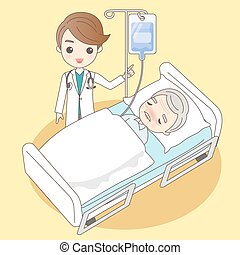 cartoon doctor with old man