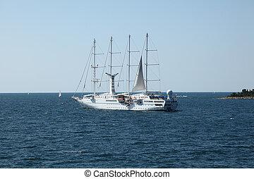 Modern sailing ship in the Adriatic Sea, Croatia