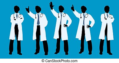 silhouette of doctor do gesture