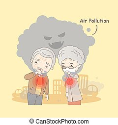 old couple with air pollution - cartoon old couple with air...