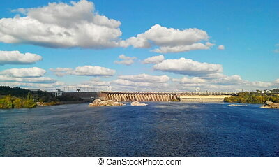 Time Lapse of the Dnieper Hydroelectric Station. - Time...