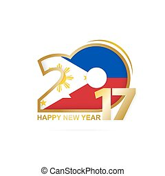 Year 2017 with Philippines Flag pattern. Happy New Year...