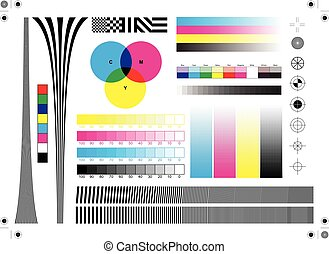 Calibration printing marks, colors and alignment adjustment