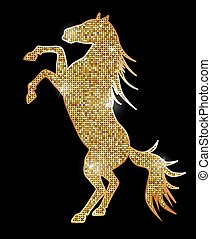 silhouette of a horse with gold glitter effect