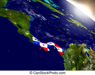 Panama with flag in rising sun - Panama with embedded flag...