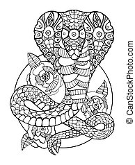 Cobra snake coloring book for adults vector illustration....