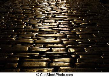 Ancient cobblestone pavement in the old town of Rovinj, Croatia