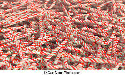 Messy Candycane Pile - Messy pile of red and white candy...