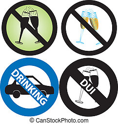 No Drinking Sign - Vector Illustration of four No Alcohol or...
