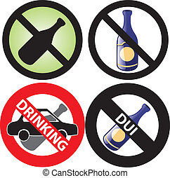 No Drinking Sign 3 - Vector Illustration of four No Alcohol...