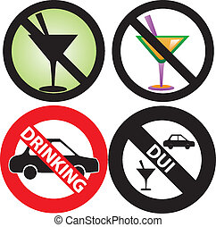 No Drinking Sign 2 - Vector Illustration of four No Alcohol...