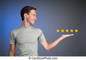 Five star rating or ranking, benchmarking concept. Man...