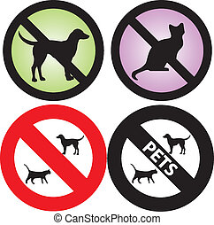 No Pets Allowed Sign - Vector Illustration of four Pets...