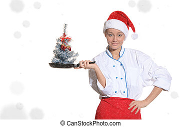 Cook with Christmas tree in pan covered and snow - Cook with...