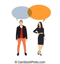 Man and Woman dialogue. Corporate People. Vector...