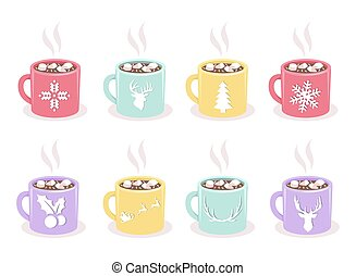 Vector set of mugs with cocoa, marshmallow, winter holiday...