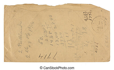 Vintage Envelope Back used for Math - The back of a brown...