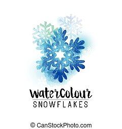 Winter abstract watercolour snowflake - vector illustration