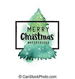 Watercolour Christmas Tree with Merry Christmas text and...