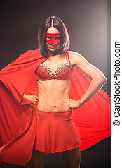 Young super hero woman in studio - Picture of young...
