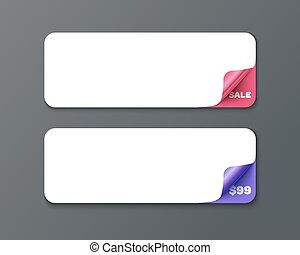 Set of horizontal banner template with curl corners....
