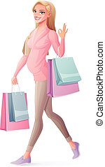 Vector pregnant woman walking with shopping bags and showing OK.