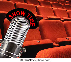 Show Time - \'Show Time\' message on vintage microphone with...