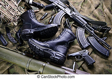 Leather combat boots - Black army boots,rifle,pistol and...