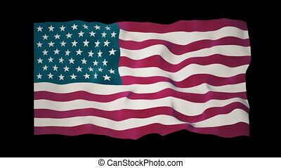 American Flag Slow Waving Matte - Close up of a waving...