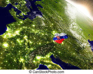 Slovakia with flag in rising sun - Slovakia with embedded...