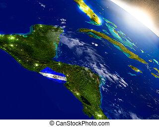 El Salvador with flag in rising sun