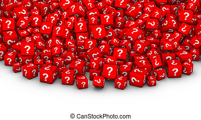 A heap of red cubes with question mark symbol.
