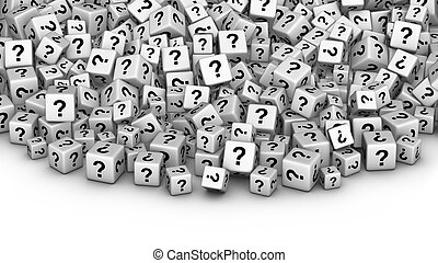 A heap of white cubes with question mark symbol.