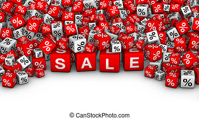 A heap of cubes with SALE word and percent symbol.