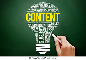 CONTENT bulb word cloud collage, business concept on...