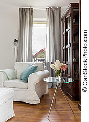 White armchair in living room