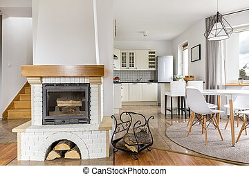 Fireplace in house - Shot of a fireplace in a stylish modern...