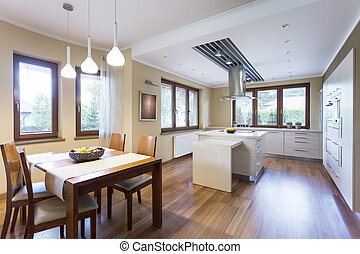 Modern kitchen with many windows - Modern living room with...