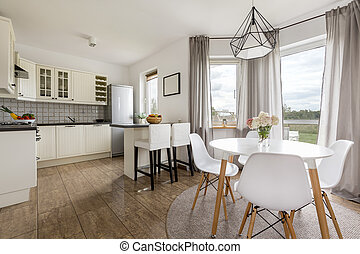 Kitchen in a modern house - Shot of a white kitchen and...