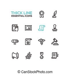 Law and Justice - Thick Single Line Icons Set - Law and...